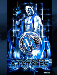 Official TNA Impact Wrestling AJ Styles P1 Phenomenal One 3ft X 5ft Banner WWE
