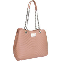 Blumarine designer fashion chic quilted nude color leather shoulder Bucket Bag
