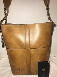 FRYE ILANA WESTERN BUCKET TAN MULTI LEATHER SATCHEL BAGPURSE DB609