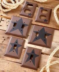 Primitive Country Decorative Hardware Metal Outlet Covers or Light Switch Plates