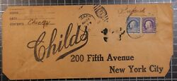 1914 Scott 419 / 421 20 And 50 Cents Franklin On Cover - Childs 5th Ave Scv 2000
