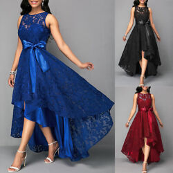 Womens Sexy Irregular Long Floral Lace Midi Dress Evening Party Formal Ball Gown