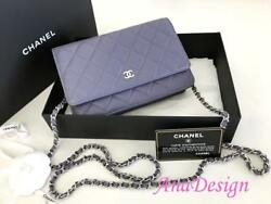 Authentic Chanel Quilted Lambskin Wallet on Chain WOC Messenger Clutch Bag SHW
