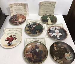 Lot Of 7 Norman Rockwell Plates - Certificates Of Authenticity - Christmas Magic