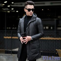 Mens Hooded Slim Zip Business Leisure Mid Long Style Warm Leather Coat Fahsion