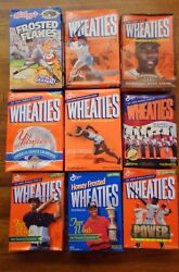 Lot Of 9 Vintage Wheaties Collectable Cereal Boxes Woods Jeter Ripkin Aaron Bg