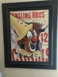 Lou Jacobs Ringling Bros Barnum And Bailey Circus Oil Painting Framed Very Rare