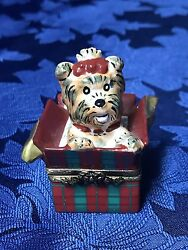 Beautiful Vintage Limoges France Trinket Box Terrier Pup in a Christmas Gift Box
