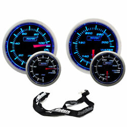 Prosport 52mm Universal Blue/white Gauge Kit Oil Pressure And Water Temperature