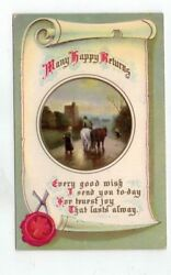 Antique embossed Gel Finish Birthday Post Card People amp; Horses at Sunset