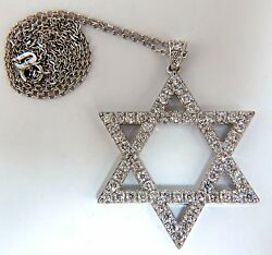 1.85ct Round Natural Diamonds Star Pendant 14kt And Chain+