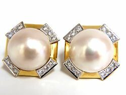 2.40ct. Diamonds Mabe Pearl Clip Earrings 18kt Omega Vintage Deco+