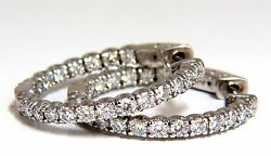 1.55ct Natural Round Brilliant In/out Diamond Hoop Earrings 14kt G/vs 1 Inch+