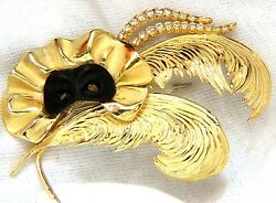 18kt Signed 1.00ct. Diamonds Theater Eye Mask Feather Peacock Pin+