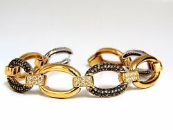 5.30ct Natural Fancy Yellow And Brown Diamond Link Bracelet 14kt+