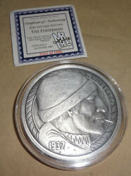 2016 The Fisherman Hobo Nickel 5oz Silver Proof Antique Version Coin Round COA