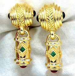1.10ct Natural Emerald Ruby Sapphire Byzantine 18kt Dangle Earrings+