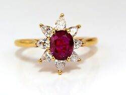 2.40ct Natural Ruby Diamonds Halo Pear Ring 18kt+