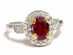 Gia Certified 1.95ct Natural Ruby Diamond Ring 18kt Vivid Red And Origin+