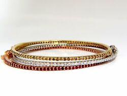 6.34ct Natural Fancy Brown White Diamonds And Ruby Stacking Bangle Bracelets+
