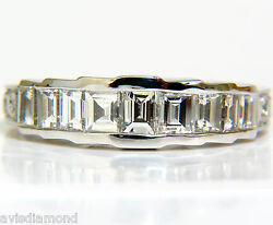 1.65ct Brilliant Square Baguette And Rounds Cuts Diamond Band 14kt G/vs+