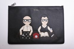 Dolce & Gabbana Clutch Bag Black Leather Made in Italy Genuine Men's Y65A