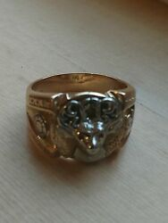 10k Menand039s Gold Elks Lodge Ring - Size 11andfrac12