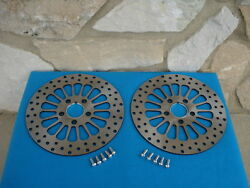 11 1/2 Spoke Satin Front Brake Rotor Pair For Harleys 1984-up With Free Bolts