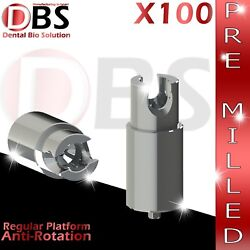 100x Dental Abutment Pre-milled + Screw With Hex Amann Girrbach And Mis Rp