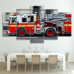 Fdny Engine Fire Truck Poster Framed 5 Panel Canvas Print Wall Art Home Decor
