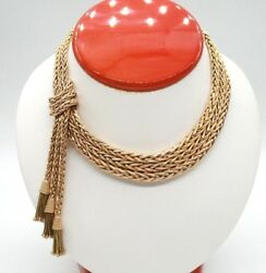 RETRO 18K ROSE GOLD THREE ROW WHEAT FRENCH NECKLACE WITH TASSELS. 15