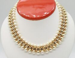 18K YELLOW GOLD VINTAGE UNKNOWN DESIGNER SOUTH SEA PEARL NECKLACE 17