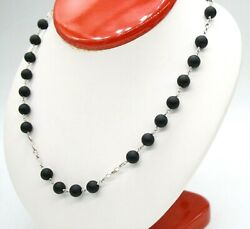 14k White Gold 8mm Matte Onyx Rosary Necklace Made In Turkey. 28 Long