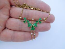Lovely Victorian Edwardian 15K Gold Enamel Guilloche Clover Shamrock Necklace ☘️