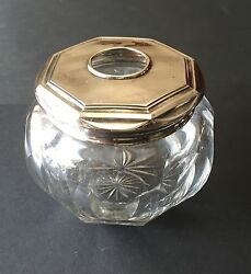 Antique Webster Co. Sterling Silver Hair Receiver Crystal Cut Glass Vanity Piece