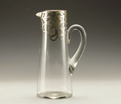 Crystal Tall Pitcher With Applied Sterling Silver Design Vintage