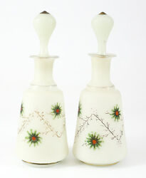 Pair Of Milk Glass Frosted Art Glass Hand Painted Perfume Bottles Gilt And Floral