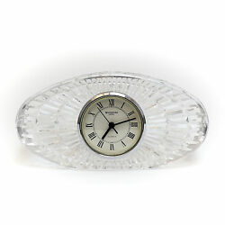 Waterford Crystal Table Clock, Signed, Hand Cut And Polished Crystal And Textured