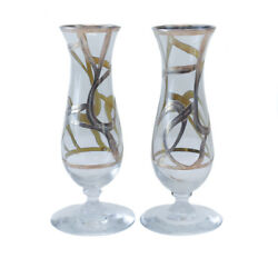 Art Glass And Sterling Silver Overlay Footed Bud Vases, Circa 1940