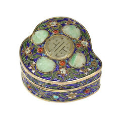 Chinese Gilt Silver Cloisonne Box With Jade Medallions, Jeweled With Gemstones