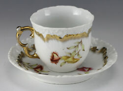 Dresden Porcelain Tea Cup And Saucer - Hand Painted Floral Designs With Gilt