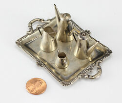5pc Set Miniature Sterling Silver Tray With Pitchers And Pots