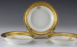3pc French Porcelain Dishes Limoges Theodore Haviland - White With Gold Rim