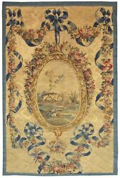 Antique 19th Century French Aubusson Needlepoint Tapestry With Free Shipping