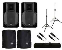 2x RCF ART 712-A MK4 Active Speaker + Covers + Stands + Bag + Mogami Cables