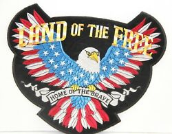 Embroidered Iron On Sew On Patches - Land Of The Free Home Of The Brave Eagle