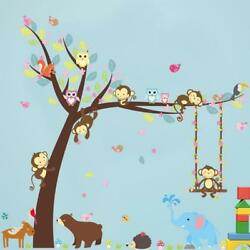 Wall Decals Kid Bedroom Tree Owl Baby Room Decor Removable Wallpaper Monkey CF