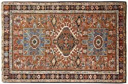 Antique Traditional Geometric Oriental Rug In Small Size With Free Shipping