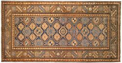 Antique Traditional Geometric Oriental Rug Small Runner Size W/ Free Shipping