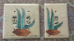 Hand Painted Southwest Decor Double  Single  Light Switch Plate Cover Feathers